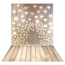 Allenjoy Valentine's Mother's Day Love Heart Rustic Wood Backdrop Photography Bridal Shower Birthday Wedding Party Wall Decor Banner Floor Kid Newborn Baby Photoshoot Background 5x7ft Photo Booth Prop