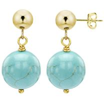14k Yellow Gold with 12mm Simulated Blue Turquoise Stud Dangle Earrings