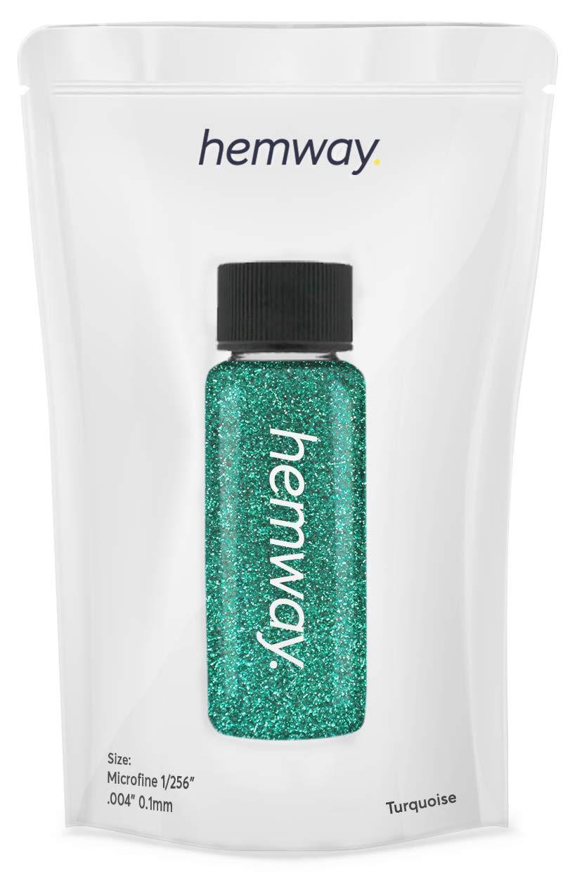 "Hemway Glitter Tube Ultra Fine 1/256"" Premium Sparkle Gel Nail Dust Art Powder Makeup Pigment Eyeshadow Face Body Eye Cosmetic Safe - 12.8g / 0.45oz (Turquoise)"