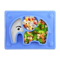 """SILIVO Baby Suction Placemat Non-Slip Silicone Baby Plates with Suction Cups Fits Most Highchair Trays - 10""""x7.7""""x1"""""""
