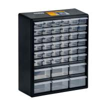 """MEIJIA Wall Mounted Hardware and Craft Storage Cabinet Drawer Organizer,Tool Cabinet With 42 drawers,Black And White,15.16""""L x 6.29""""W x 17.32""""H"""