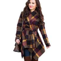 BOMBAX Women Wool Blend Shawl Trench Coat Lapel Collar Cardigan Belted Wrap Outwear