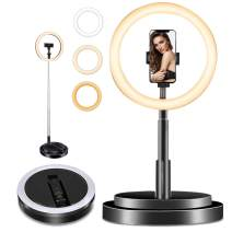 "11.5"" Selfie Ring Light with Stand and Phone Holder, Foldable Makeup Light 22""- 66"" Portable TIK Tok Lights Selfie Desk Fill Light for YouTube Video Record/Live Stream/Online Lessons/Makeup/Vlog,Black"