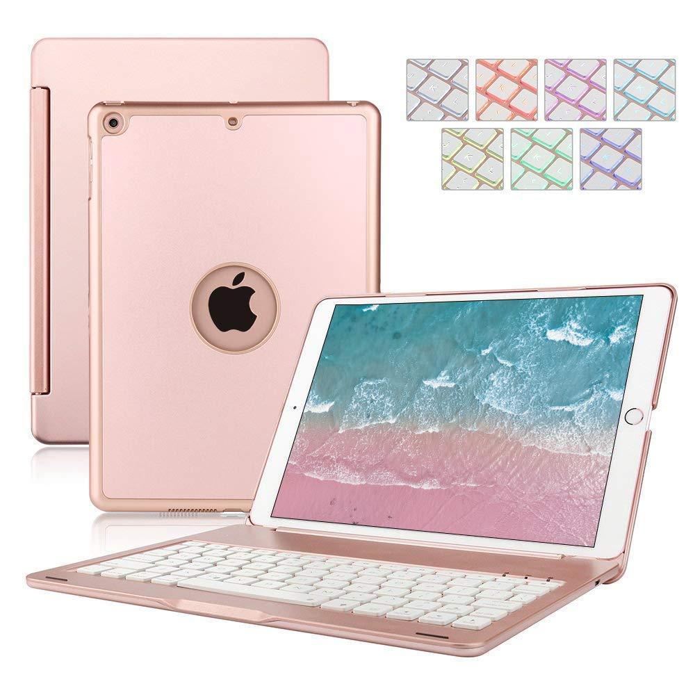 Keyboard Case for iPad 9.7,Dingrich Smart iPad Case with Keyboard for 2018 (6th Gen), iPad 2017 (5th Gen), iPad Air 1,360 Rotatable,7 Color Backlit (Rose Gold)
