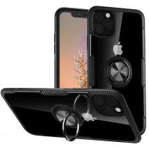 Lozeguyc Case for iPhone 11 Pro, iPhone 11 Pro Kickstand Ring Holder Case Magnetic Car Mount Metal Plate Clear Hard Cover Slim Shockproof Hybrid Case for iPhone 11 Pro 5.8 Inch-Black