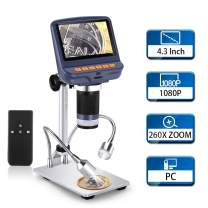LCD Digital Microscope, Elikliv 4.3 inch 1080P USB Microscope Camera 2MP Video Recorder with 10X-260X Magnification, Wireless Remote, UV Filter,8 LED Adjustable Light