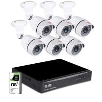 Tonton 8CH Full HD 1080P Expandable Security Camera System, 5-in-1 Surveillance DVR with 1TB Hard Drive and (6) 2.0MP Waterproof Outdoor Indoor Bullet Camera, Free APP Remote Viewing and Email Alert