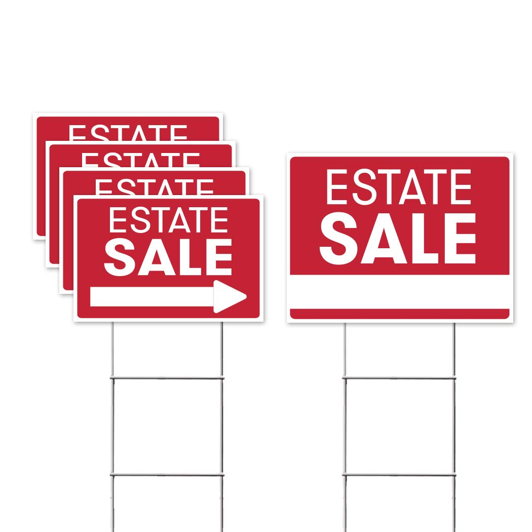 """Estate Sale Sign Bundle Kit – [Upgraded] 5 Double Sided Red Pro Real Estate Property Yard Signs Bulk Pack & Heavy Duty H Wire Stakes – Large Directional Arrows - 18""""x 24"""" For Sale Garage Supplies"""