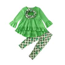 Toddler Infant Baby Girl Outfit Long Sleeve Ruffle Tunic Dress Blouse Top+Pants Legging Clothes Set