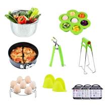 Pressure Cooker Accessories Set, Compatible with 5 6 8 Qt Instant Pot - 8 Pieces Includes Steamer Basket, Springform Pan, Egg Racks, Egg Bites Mold, Dish Clip, Retriever Tong and Mini Mitts