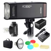Godox AD200Pro 200Ws 2.4G TTL 1/8000 HSS Flash Strobe Speedlite Monolight with AD-M Reflector and Color Filters Kit to Cover 500 Full Power Shots(AD200 Upgrade Version)