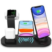 Wireless ChargerStation for iPhone Apple Watch Airpods, 4 in 1 Wireless Charging Dock Qi Fast Charging Station for iPhone X/XS/XR/8/8 Plus - iWatch 4/3/2/1 - Airpods 1/2 - iPad Mini4/Air/Pro - S10/S9