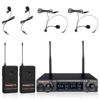 Metal Wireless Receiver, Phenyx Pro UHF Wireless Microphone System With 2 Bodypacks, 2 Lapels and 2 Headsets, Fixed Frequency, 16 Hrs Long Battery Life, Ideal for Church, Outdoor Events (PTU-51D)