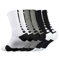 Mens Cushioned Basketball Socks Athletic Crew Socks Long Sports Outdoor Socks Compression Socks, 6 Pack