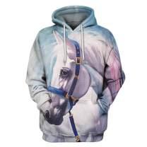 Boromiroak Women 3D Hoodie Couples Hooded Sweater Fancy Horse Hoodies Pullover Sweatshirts