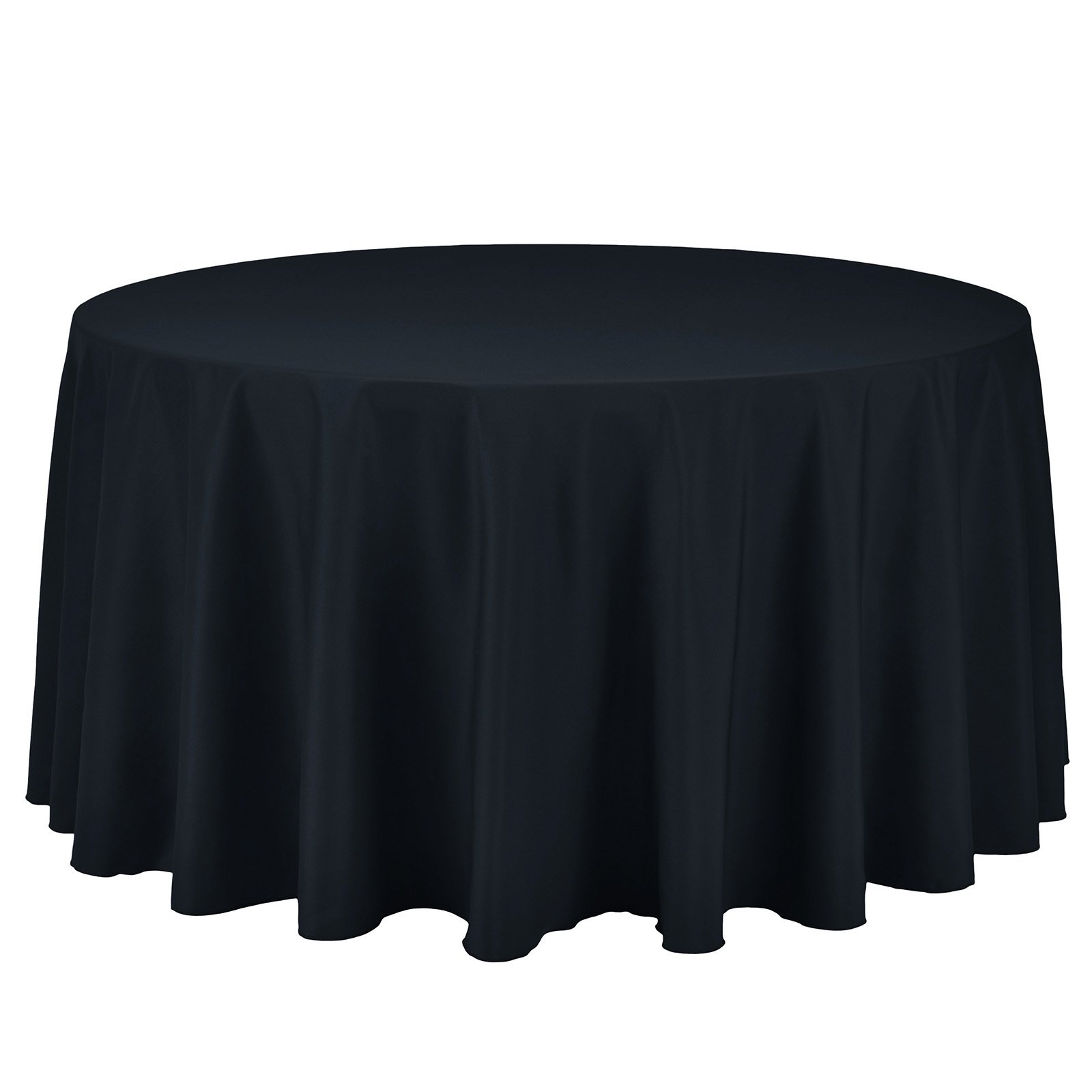 Remedios Round Tablecloth Solid Color Polyester Table Cloth for Bridal Shower Wedding Table – Wrinkle Free Dinner Tablecloth for Restaurant Party Banquet (Navy Blue, 120 inch)
