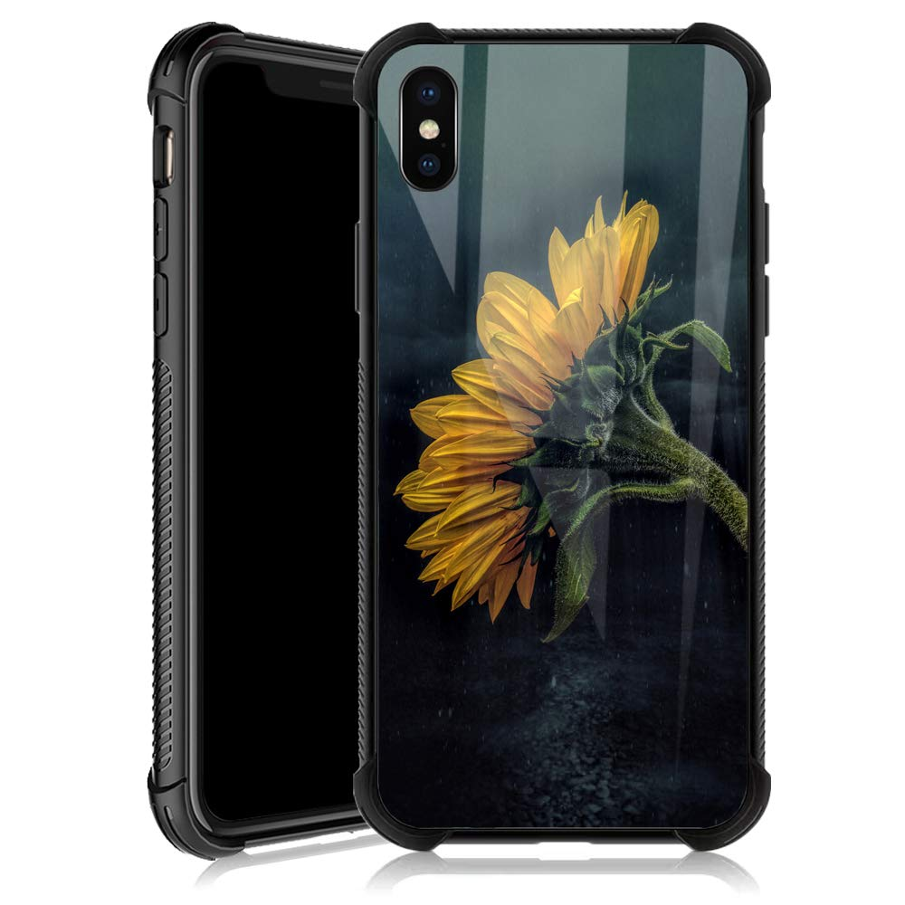 iPhone Xs Max Case,Sunflower in the Rain iPhone Xs Max Cases for Girls,Tempered Glass Back Cover Anti Scratch Reinforced Corners Soft TPU Bumper Shockproof Case for iPhone Xs Max Night Lonely Vitality