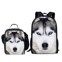 Dellukee School Backpack And Lunch Bag Set Cute Durable Daypack Husky Print