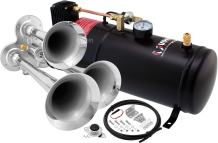 Vixen Horns Train Horn Kit for Trucks/Car/Semi. Complete Onboard System- 150psi Air Compressor, 1 Gallon Tank, 3 Trumpets. Super Loud dB. Fits Vehicles Like Pickup/Jeep/RV/SUV 12v VXO8210/3114