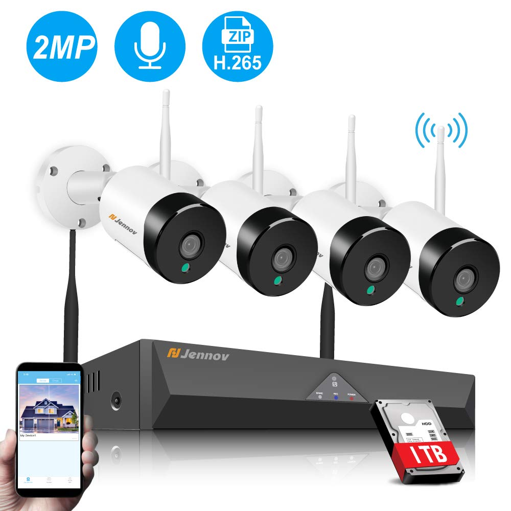 Wireless Security Camera System,Jennov Security Camera System Wireless with Hard Drive 1TB Pre-Installed 4PCS HD 1080P(2 Megapixel) WiFi Indoor/Outdoor Bullet IP Camera,Motion Detection Free App