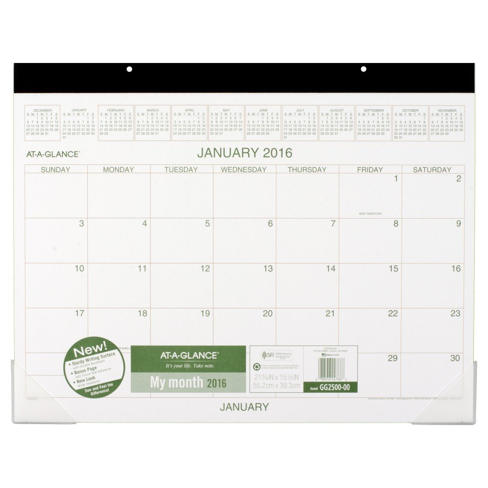 AT-A-GLANCE Desk Pad Calendar 2016, Recycled, 21-3/4 x 15-1/2 Inches (GG2500-00)
