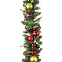 [9 Foot Artificial Christmas Garland] - Festive Holiday Collection - Red and Green Decoration - Pre Lit with 100 Warm Clear Colored LED Mini Lights - Includes Remote Controlled Battery Pack with Timer