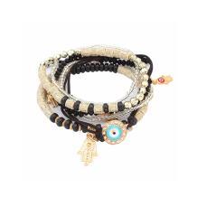 LUREME Bohemian Beads Multi Strand Hamsa Hand Evil Eye Charms Stretch Bracelet Set (bl003164)