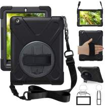 ZenRich iPad 2 Case, iPad 3 Case, iPad 4 Case, 360 Rotating Kickstand Hand Strap & Shoulder Belt Shockproof Heavy Duty Rugged Case for iPad 9.7 inch 2/3/4 Generation Tablet, Black