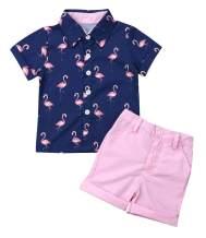 Toddler Baby Boy Summer Clothes Button Down Short Sleeve Shirts + Short Pants 2pcs Gentlemen Outfits Playwear Beachwear Set