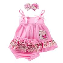 Infant Baby Girls 3Pcs Clothes Set Sundress+Ruffled Shorts+Headband Summer Outfit