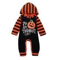 Halloween Newborn Baby Boy Girl ClothesLong Sleeve Jumpsuit My First Halloween Pumpkin Hoodie One-Piece Romper Bodysuit