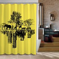 "ChadMade Fabric Waterproof Elephant Lion Deer Hippo Griraffe Design Bathroom Shower Curtain in 72"" W x 72"" L with 12 Plastic Hooks"