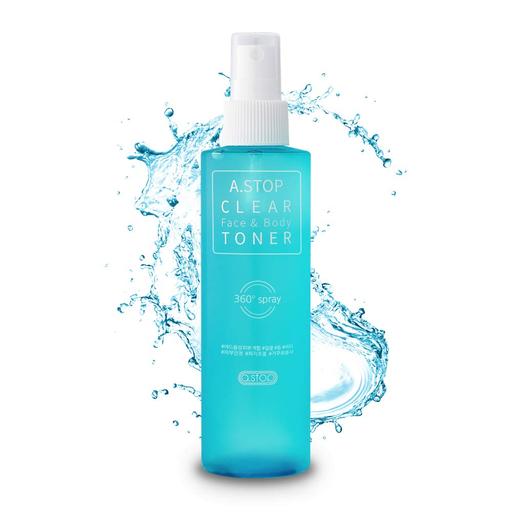 A.STOP Korean Acne Treatment Spray Toner for Face & Body   Natural BHA Salicylate   Upside-down Pump for Back Acne, Chest, Butt, Shoulder   Organic Clarifying Korean Skin Care for women and men