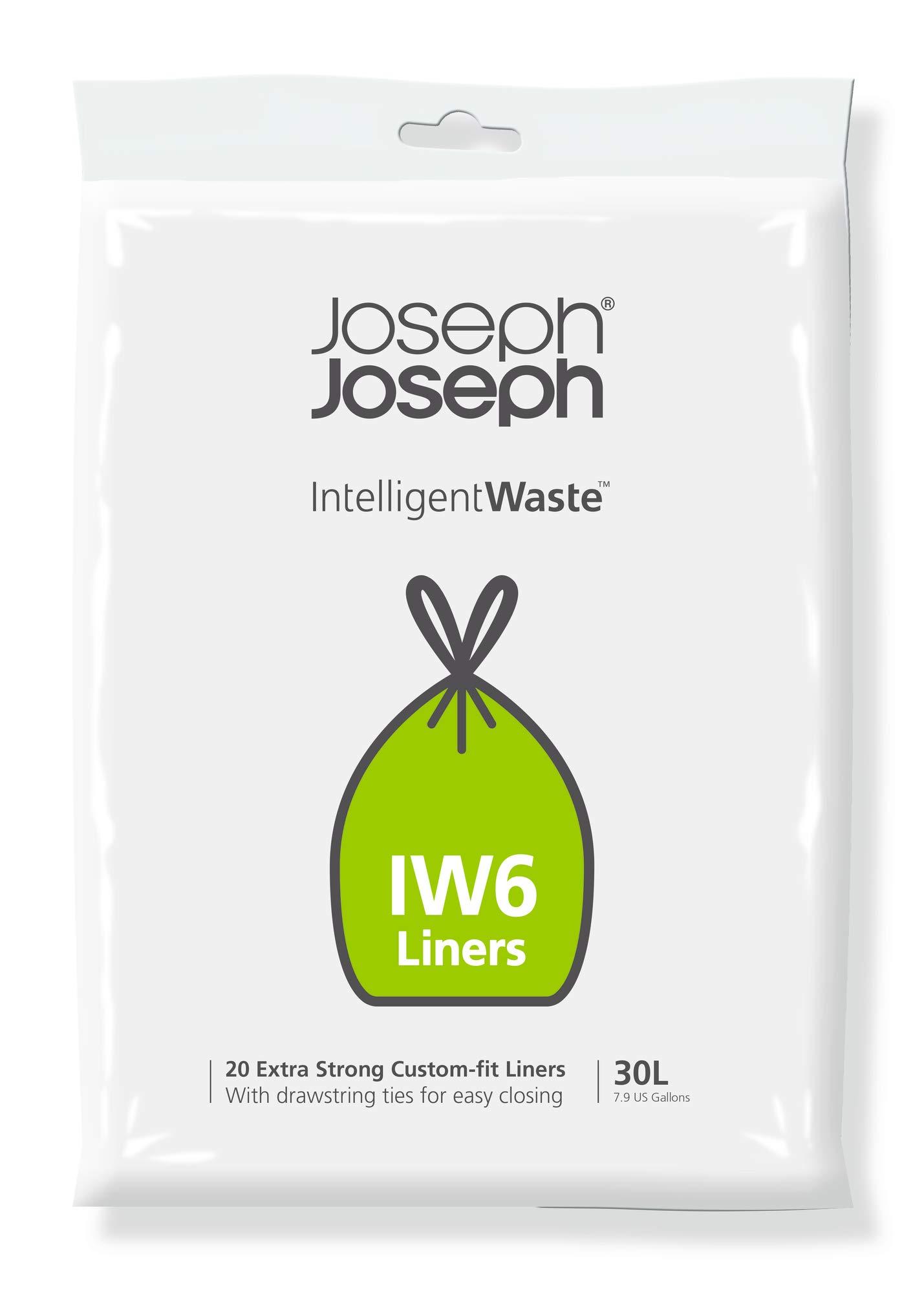 Joseph Joseph 30058 Intelligent Waste IW6 General Waste Liner Trash Bags for Totem Max 30 Liter / 8 Gallon, 20-Pack, Gray