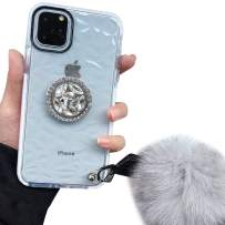 iPhone 11 Pro Case,Lozeguyc iPhone 11 Pro 5.8 Inch Clear Crystal TPU Case Bling Diamond Ring Stand Cover Soft Shockproof Furry Ball Strap Case for Girls Women-White