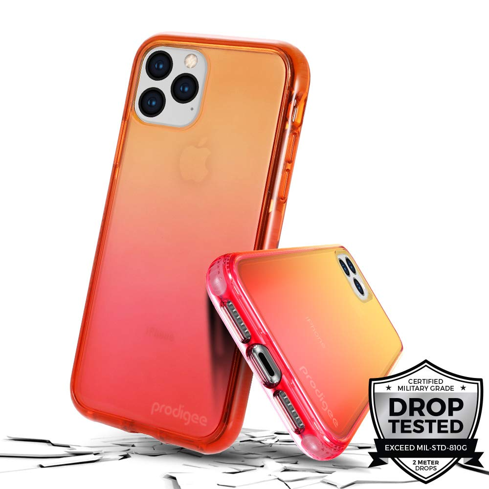 Prodigee [Safetee Flow for iPhone 11] Passion Case Orange Pink Clear Transparent Military Drop Shock Test Protective Thin Slim Gradient Multi Color Cover 6.1''