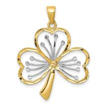 14k Yellow Gold Clover Pendant Charm Necklace Good Luck Italian Horn Fine Jewelry For Women Gifts For Her