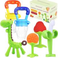 Teething Toys Teethers for Babies 0-6 Months 6-12 Months - with 2 × Baby Fruit Feeders and 4 × Baby Teether - BPA Free / Freezer Free - Different Soft Textures for Infant and Toddlers (Green)
