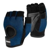 TKO Workout Gloves with Non-Slip Padded Grips - for Gym, Fitness, Exercise, Lifting, Crossfit - Available with Breathable Mesh