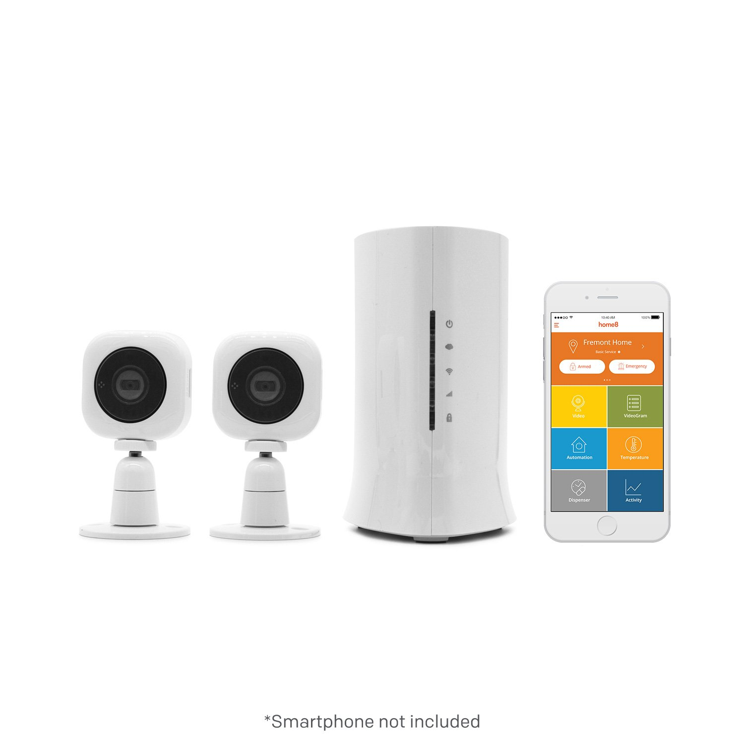 Home8 Video-Verified Monitoring/Alarm System with Two (2) Cube HD Security Cameras, Wireless Security System with Free Basic Service, featuring Amazon Alexa Integration