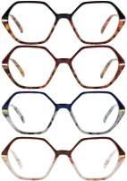 Reading Glasses for Women & Men Spring Hinge Frames Anti-Scratch Lenses 4 Pack