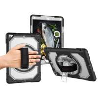 """Miesherk iPad 6th/5th Generation Case,360 Rotating Three Layer Heavy Duty Protection Case with Hand Strap for iPad 5th/6th 2018/2017 9.7"""" Case,Clear"""