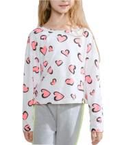MQDORAFA Toddler Girls Long Sleeve Stripe Tops Kids Crew Neck Cotton Ruffle Tee Shirts