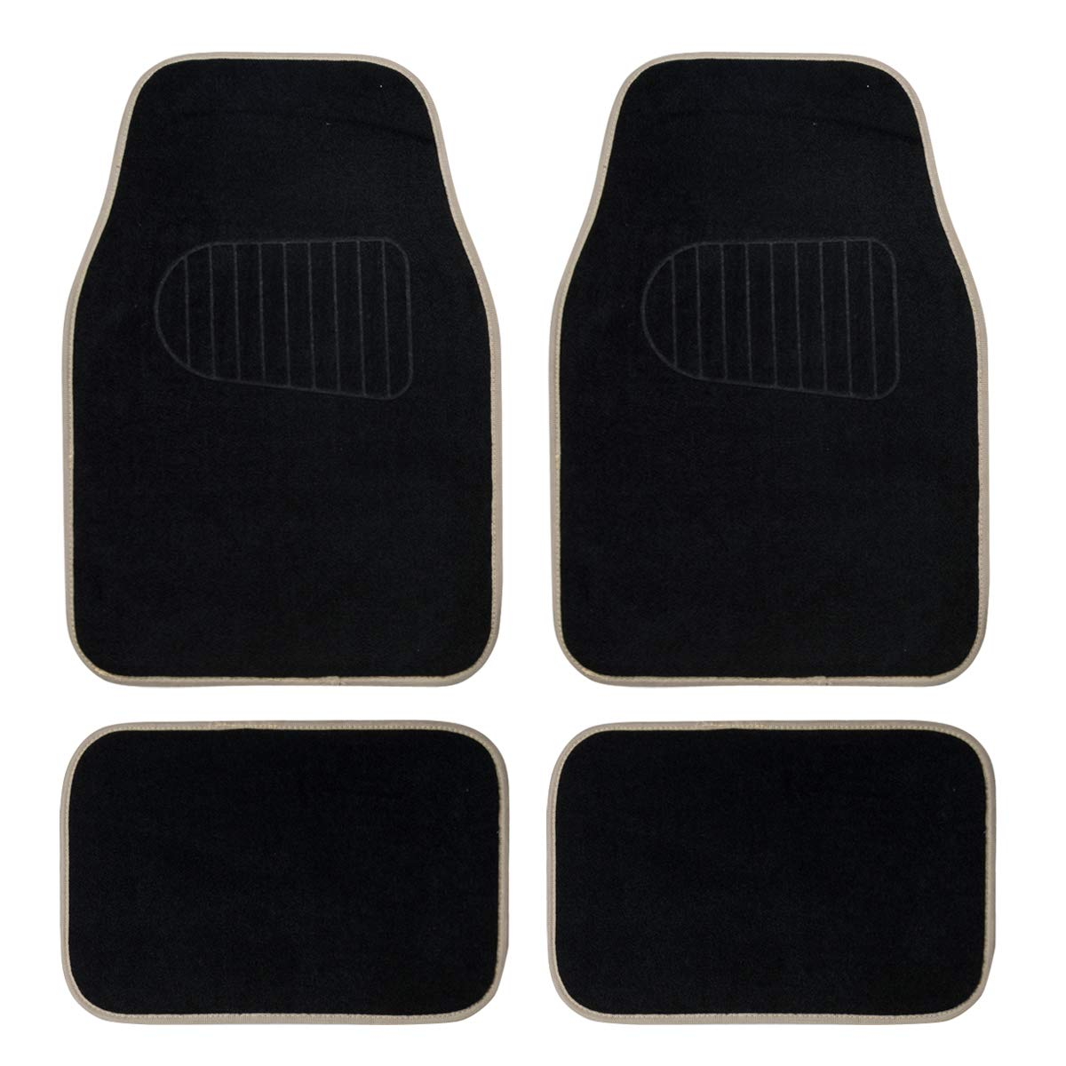 CAR PASS NEW ARRIVAL Universal Fit Car Floor Mat With Heel Pad ,Set Of 4 ,Black And Beige