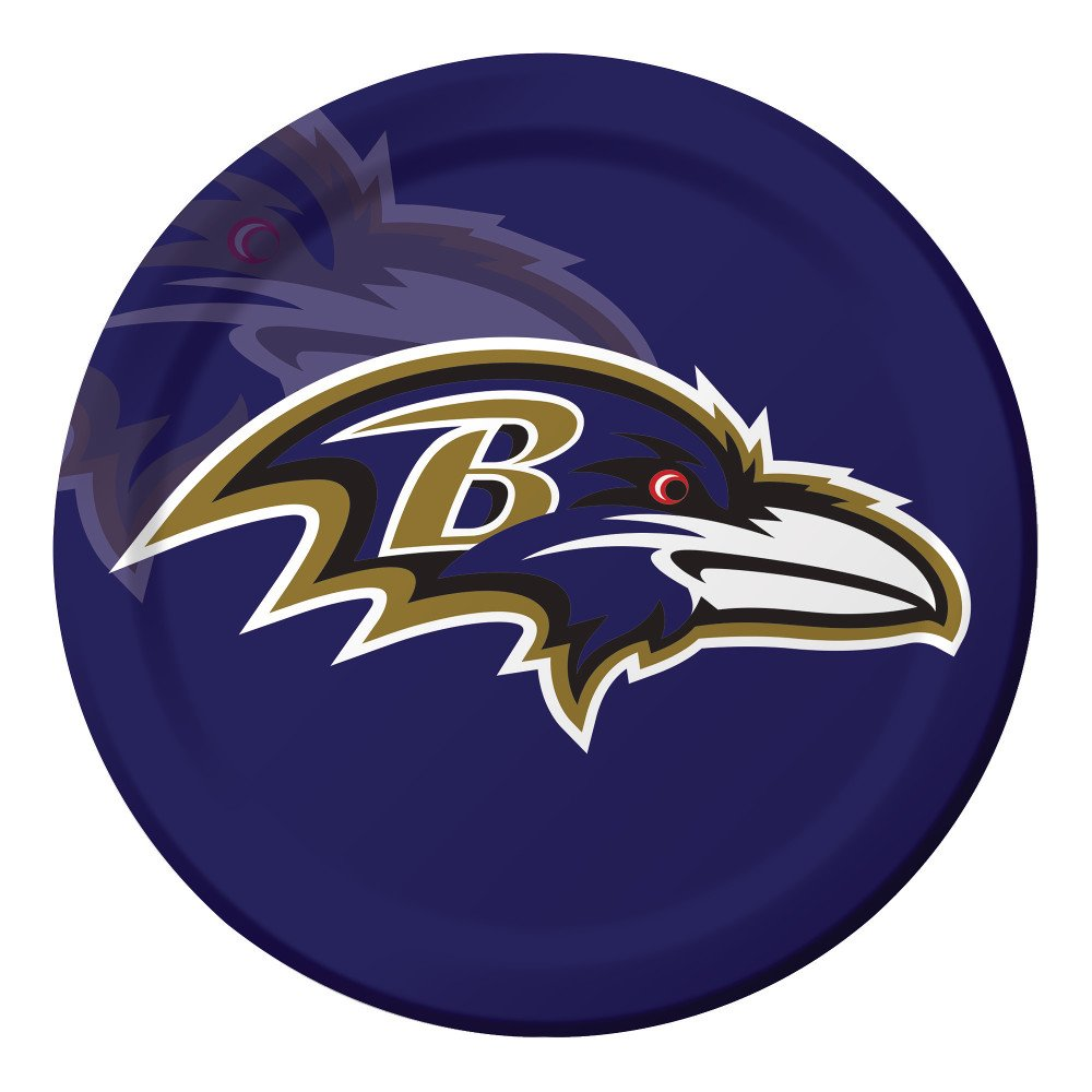 Creative Converting Officially Licensed NFL Dinner Paper Plates, 96-Count, Baltimore Ravens