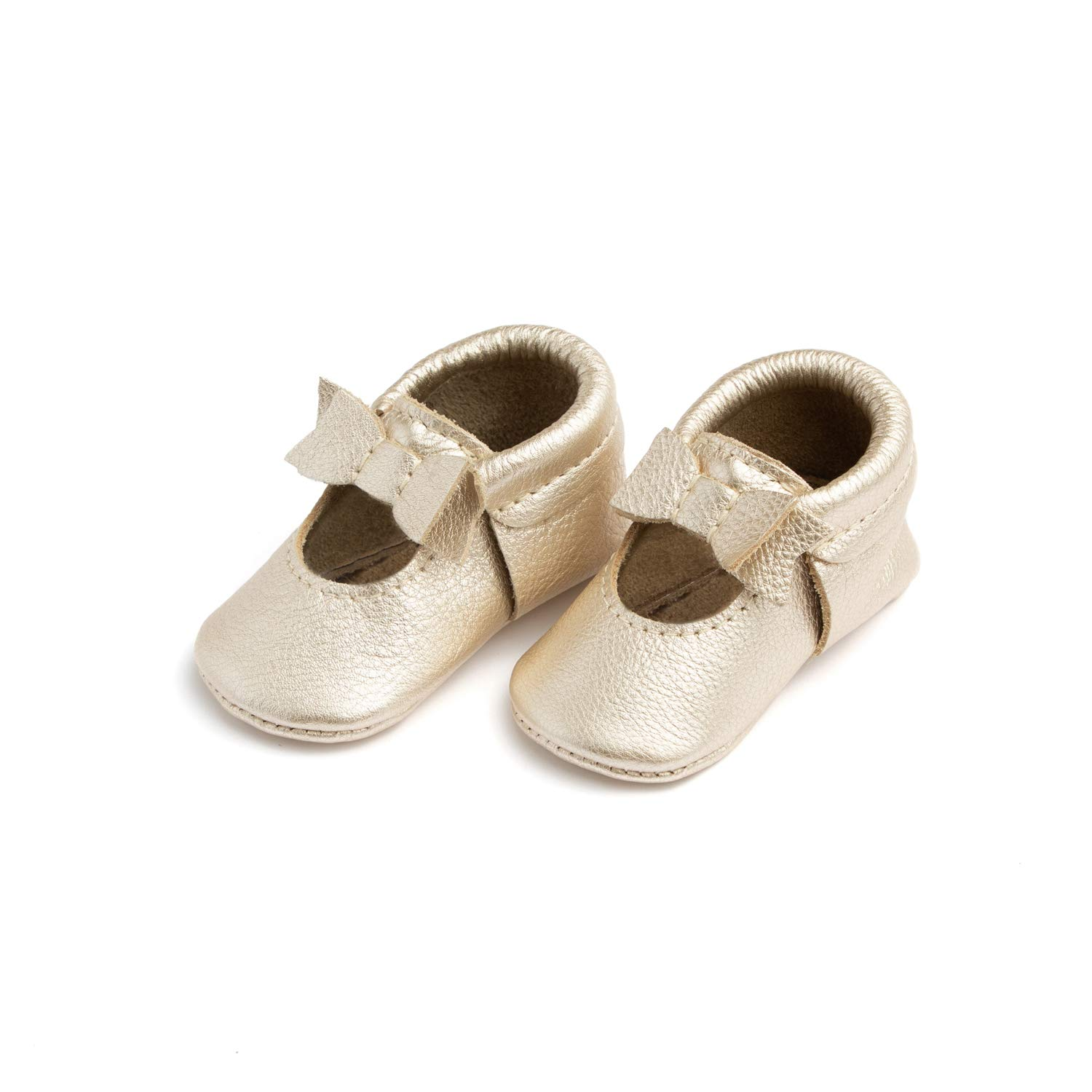 Freshly Picked - Rubber Mini Sole Leather Ballet Flat Bow Toddler Girl Moccasins - Size 5 Platinum Gold