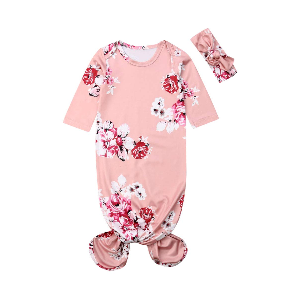 Mubineo Infant Newborn Baby Floral Sleeping Bag Swaddle Blanket with Headband Outfits (Peach Pink, 0-6 Months)