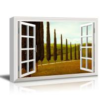 "wall26 - Creative Window View Canvas Prints Wall Art - Tuscan Countryside with Cypress and Meadow - 24"" x 36"""