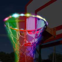 Basketball Hoop LED Lights Automatic Light Perception Waterproof Solar Energy Recharge Basketball Rim (4.9ft) LED Light for Playing at Night Outdoors