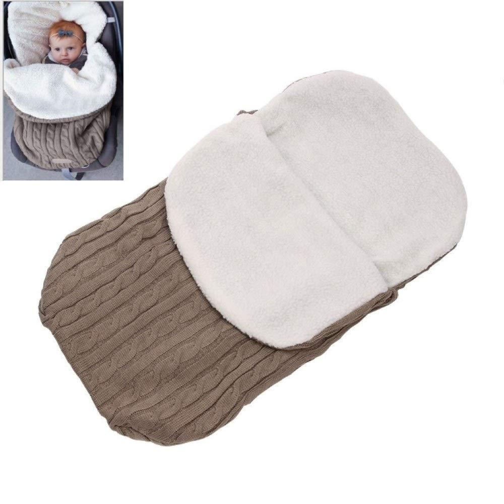 BATTILO HOME Unisex Newborn Baby Swaddle Blankets Knit Soft Warm Stroller Wraps Sleeping Bag Sleep Sack for 0-12 Months Baby Boys Girls (Khaki)